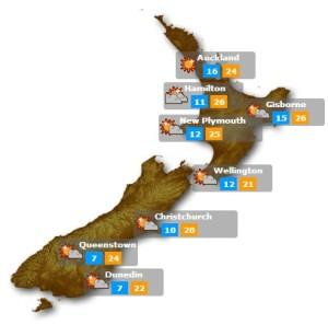 Het weer in Nieuw Zeeland in de gaten houden